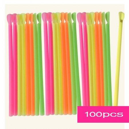 plastic straw spoons