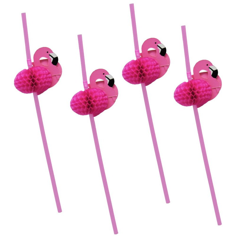 flamingo honeycomb straws