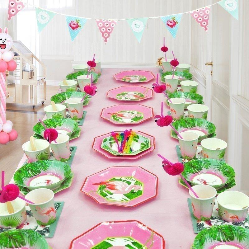 flamingo theme party tableware sets
