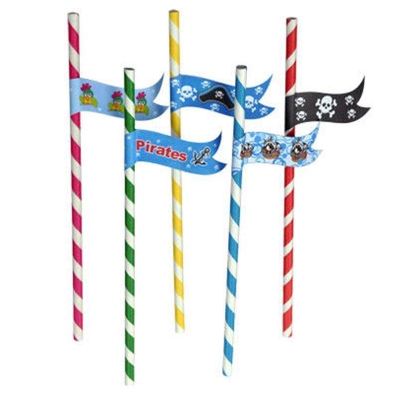 pirate paper stripe straws
