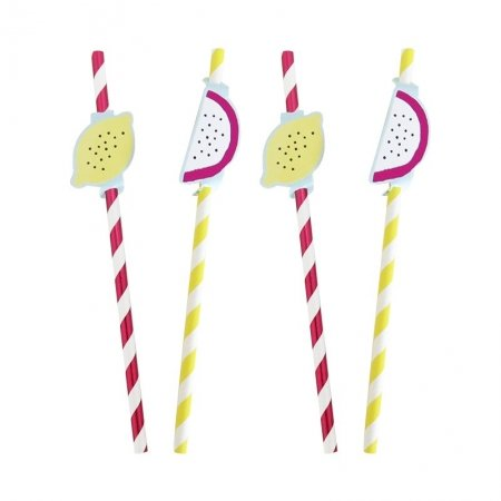 summer fruits stripe paper straws
