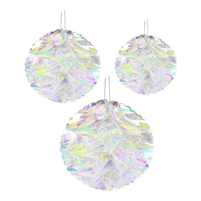 iridescent honeycomb flower ball ornament