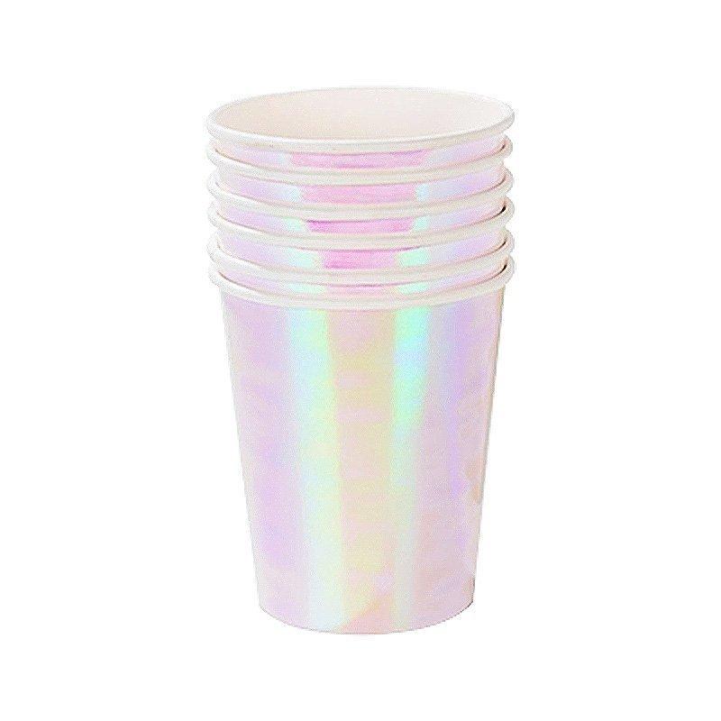 iridescent paper cups