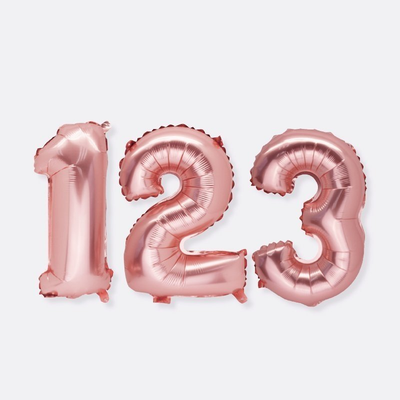 rose gold foil number balloons