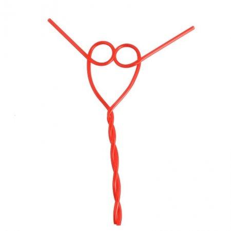 Valentine's Day red heart straw