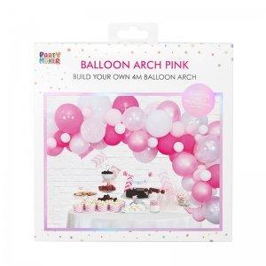 Pink white balloon arch kit