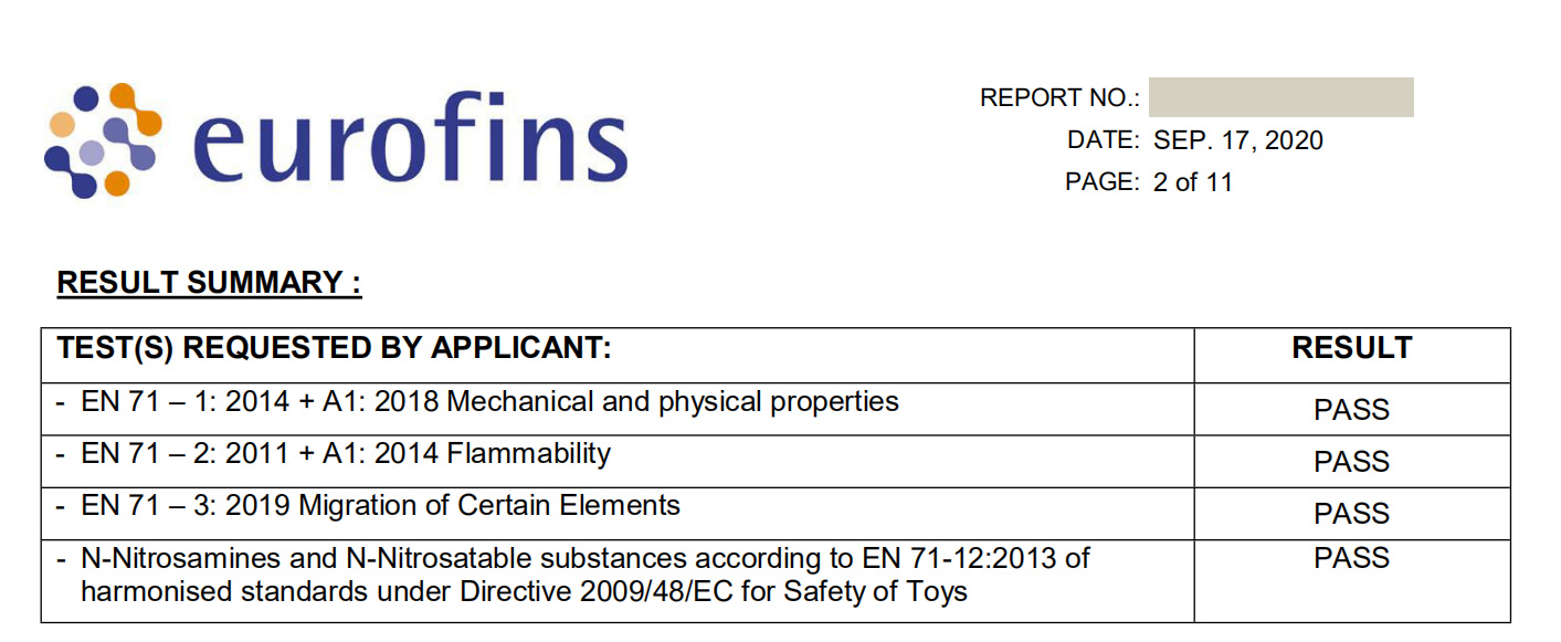 test report of balloons arck kits